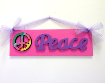 Girls Hot Pink And Purple Peace Sign Bedroom Wall Decor Peace Sign Room Decor