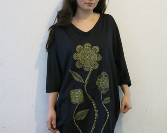 Oversize tshirt dress with gold screen printed floral design by Quantum