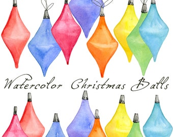 Christmas Digital Clip Art, Christmas Ornament, Watercolor Christmas Balls, Christmas Bulb