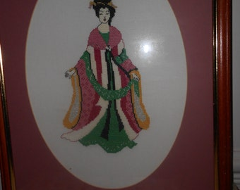 Geisha girl hand embroidered shabby chic decorative tapestry rich colours wooden frame gift for her