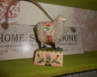 shabby chic and kitsch sheep ornament colourful and rustic style figurine