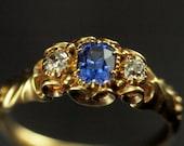 Ceylon Sapphire Ring - Victorian Diamond Ring 0.14cts
