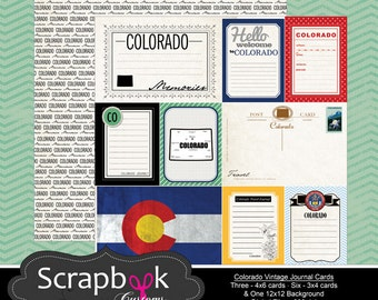 Colorado Journal Cards. Digital Scrapbooking. Project Life. Instant Download.