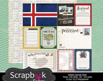 Iceland Journal Cards. Digital Scrapbooking. Project Life. Instant Download.