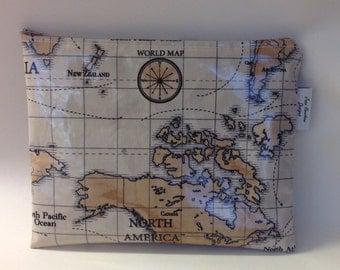 iPad bag pouch sleeve handmade in world maps oilcloth