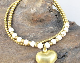Casual Double Line 4mm White Howlite Beaded Brass Bead Bracelet with Heart Charm