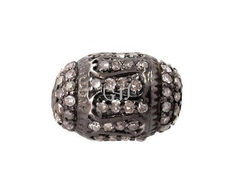 92.5 Sterling silver diamond pave spacer bead findings for Jewelry making