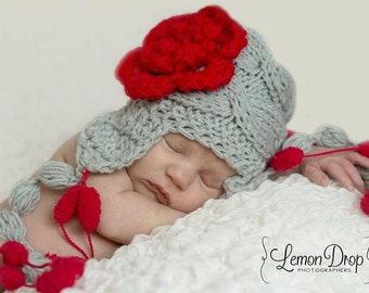 Knit Baby Girl Hat , Baby Girls Hat Photo Prop , Newborn Hat Baby Hat Earflap  , Knit Baby Hat , Crochet Flower Hat ,Photo Prop