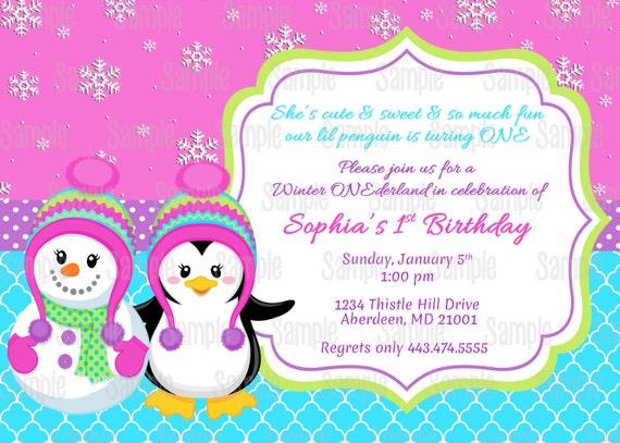 Printable Penguin Snowman girl Winter Onederland Birthday – Snowman Birthday Invitations