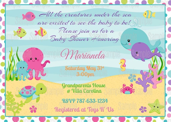 Printable under the sea girl baby shower invitation plus free blank il570xn filmwisefo Image collections