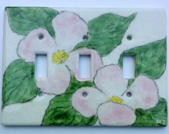 Pink Dogwood Ceramic Triple Switchplate