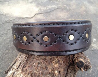 READY TO SHIP! Hand Stitched Leather Dog Collar