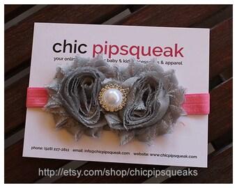 Gray and Pink Handmade Shabby Headband, Spring Headband. Baby Headband, Toddler Headband, Newborn Headband, Girls Headband