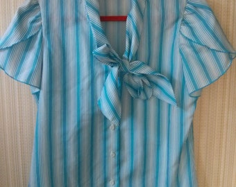Vintage Mod White and Blue Sriped Blouse