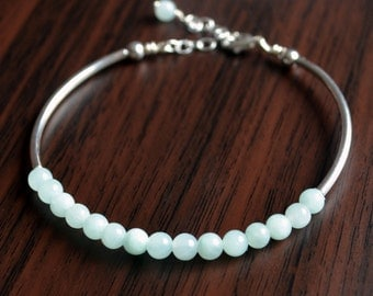 Mint Green Jewelry, Jade Bangle, Stacking Bracelet, Smooth Beads, Silver Plated, Beaded, Adjustable Size