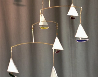 Stained Glass Sailboat Mobile