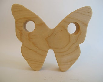 Wood Toy -  Butterfly Teether - organic, safe and natural for baby