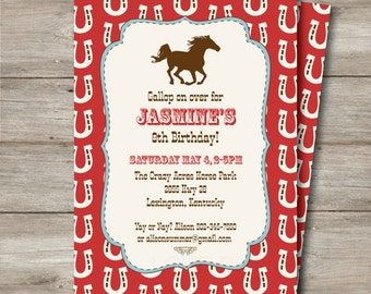 Horse Cowboy Invitation with Editable Text, DIY Printable Horse Cowgirl Invitation, Horse Themed Party Invitation to Print, Instant Download