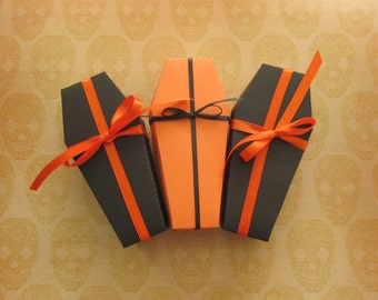 Coffin Favor Box Halloween - Halloween Coffin Treat Boxes - Unassembled Coffin Boxes with Lids - Treat Boxes - set of 10