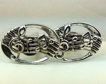 Sterling silver musical note cuff links