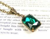Emerald Green Necklace, Vintage Swarovski Crystal, Handmade Vintage Style Jewellery