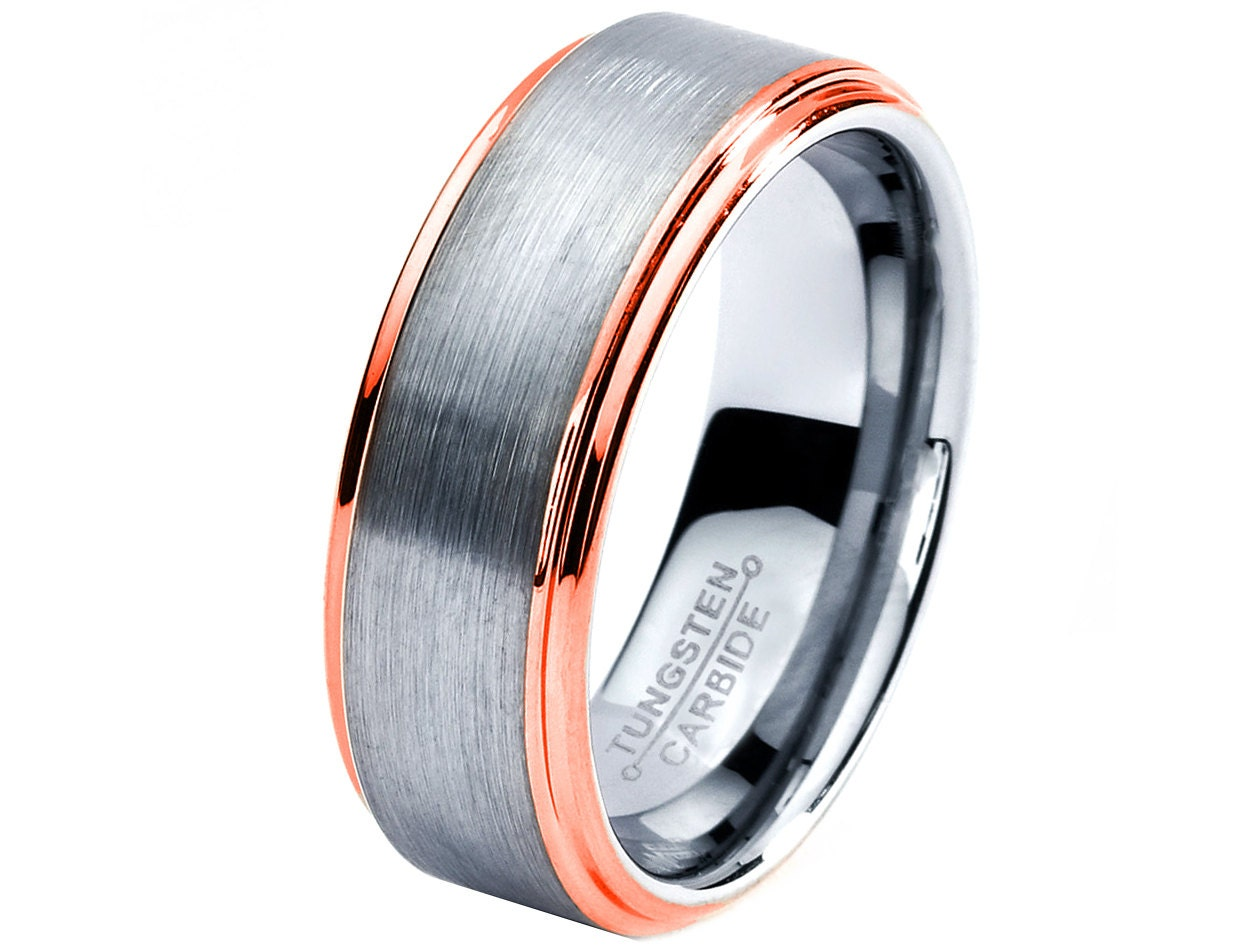 Rose Gold Wedding Band Ring Tungsten Carbide 8mm By GiftFlavors