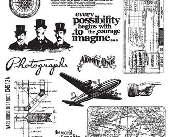 Tim Holtz WAREHOUSE DISTRICT Cling Mount Rubber Stamps Set CMS124 by Stampers Anonymous