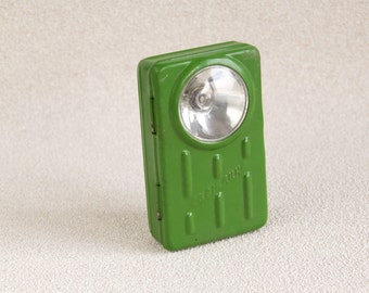 Vintage Military Green Brick Army Torch, Bulgarian  Army, USSR Cold War Collectible flashlight personal military, Gift for Him, ohtteam