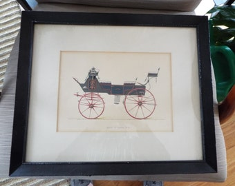 antique French etching lithograph print carriage hand colored car art  automobile memorabilia