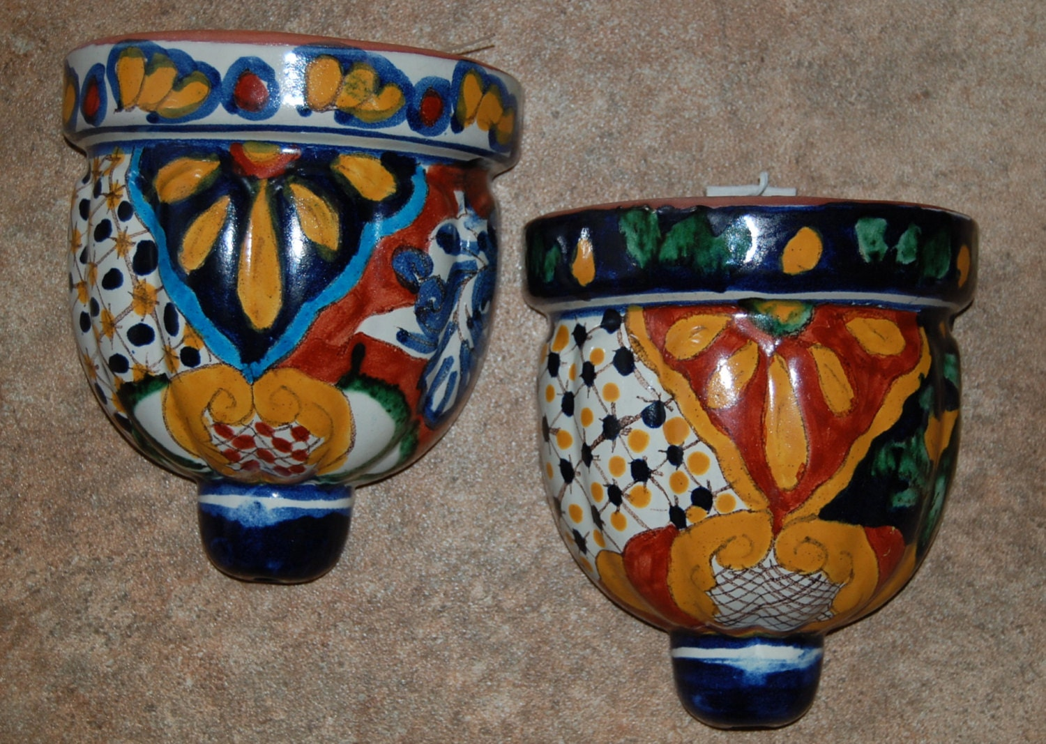 Colorful Mexican Wall Pocket Planters Vintage Wall Decor