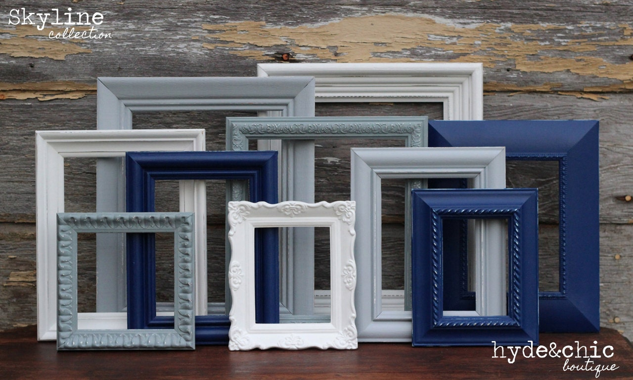 Frame Sets For Wall navy blue grey white picture frames / upcycled distressed