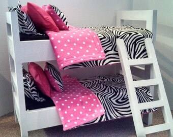 American Girl Bunk Bed With Zebra Bedding Set Made To Fit