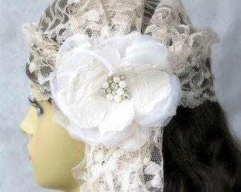 Bridal Lace Cap with Silk Flower, 1920s Hair Accessory, Taupe Bridal Cap, White Bridal Cap, Pink Bridal Cap, Ivory Bridal Cap