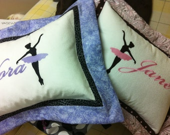 Custom Sewn Ballerina Pillow with Embroidered Name