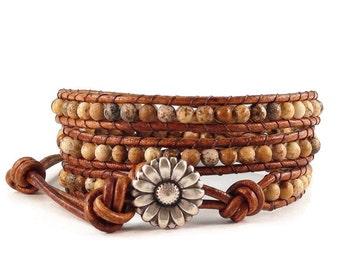 Leather Wrap Bracelet Picture Jasper Gemstones Daisy Button Beaded Jewelry