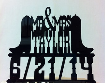 Western Wedding Cake Topper, Rustic Country & Western Font Boots Custom Name Wedding Cake Topper With Date  MADE In USA…..Ships from USA