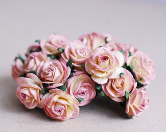 paper flower, 50 pieces mini rose, Pink&Yellow color.