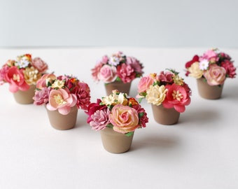 Paper Flower 6Pots , gift, Made from paper.