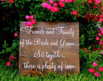 FRIENDS and FAMILY Seating Plan Sign Rustic Wedding Signs 16 x 19
