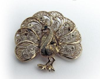 Vintage Filigree Brooch Pin Sterling Silver Germany Vermeil