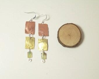 mixed metal earrings, dangle earrings, copper earrings, opal jewelry, rustic earthy boho jewelry,