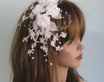 Vintage Style Bridal Fascinator Wedding Accessory Flowers Bridal Accessory Pearls Beaded Hair Clip