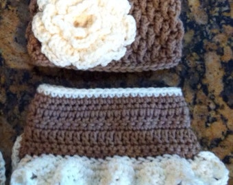 Baby girl hat and diaper cover set, photo prop