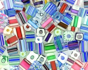 Furnace Glass Beads, Jewel Tones Cubes Medium size mix by Virginia Wilson Toccalino, 1 oz