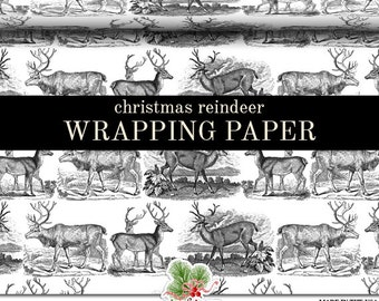 Christmas Wrapping Paper Roll |  Vintage Reindeer Christmas Custom Gift Wrap In Two Sizes. More Color Combinations Available
