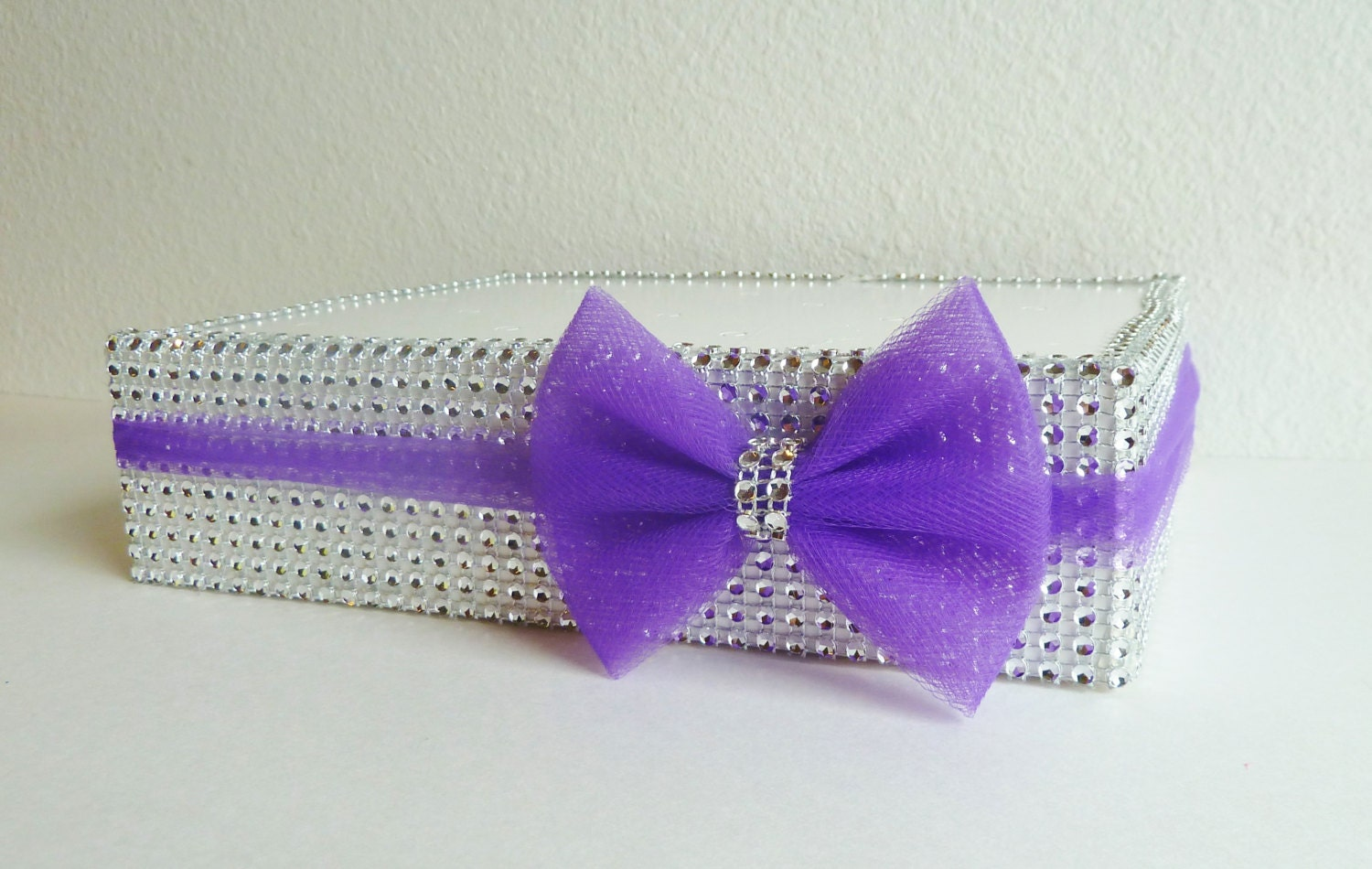 1 purple plum tulle bow silver bling cake pop stand display
