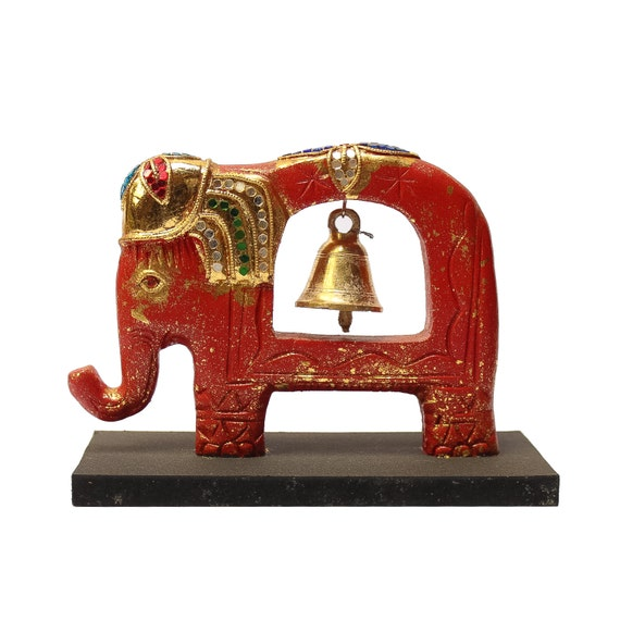 jeweled elephant sculpture with brass bell wooden by siamsawadee. Black Bedroom Furniture Sets. Home Design Ideas