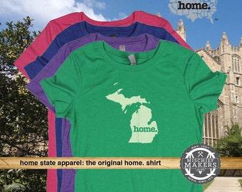 Michigan Home. T-shirt- Womens Red Green Royal Pink Purple