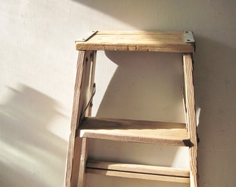 Small Two Step Folding Ladder Natural Wood Step Stool