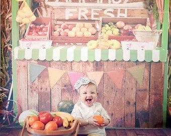 7ft x 7ft Produce Stand Backdrop - Farm Fresh Fruit and Vegetable Stand Photography Backdrop - Vinyl - Item 1912